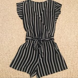 Ann Taylor Loft Black And White Striped Romper